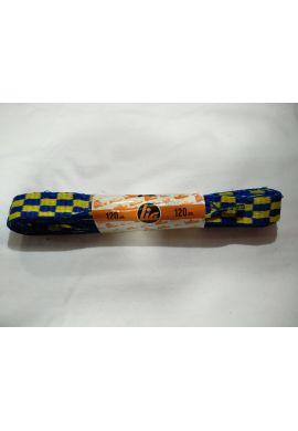 Cordones zapatillas anchos 120 cms (Cuadros azules / amarillos)