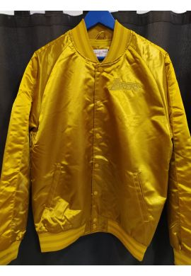 "Chaqueta Bomber Mitchell & Ness ""Color Satin blocked Los Ángeles Lakers"" old gold"