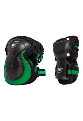 Pack Protecciones KRF Retro (Rodillera + Muñequeras) black green