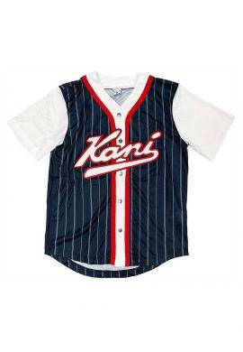 "Camiseta beisbolera KARL KANI ""Varsity Block Pinstripe"" navy"