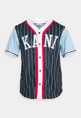 """Camiseta beisbolera KARL KANI """"College Block Pinstripe Baseball"""" navy red stripe"""