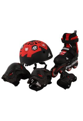 "Combo Patines ROLLERBLADE ""CUBE"" negro/rojo"