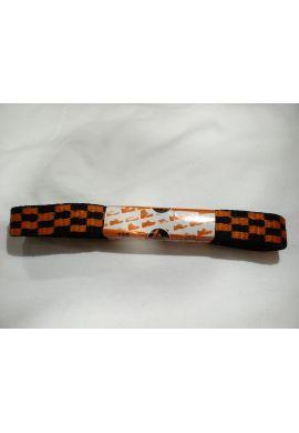 Cordones zapatillas anchos 120 cms (cuadros naranjas / negros)
