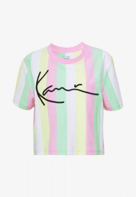 """Camiseta TOP Karl Kani """"Signature Stripe"""" pink / green / yellow / white"""
